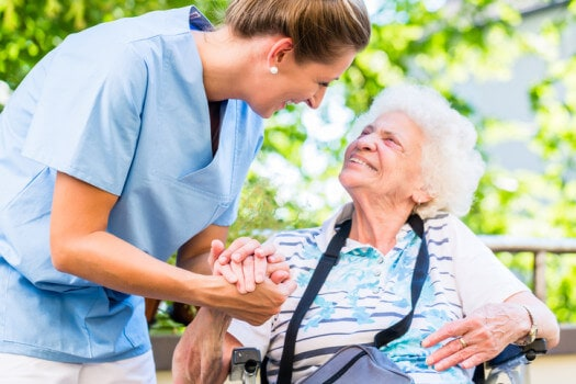 Caregiver communication with senior woman